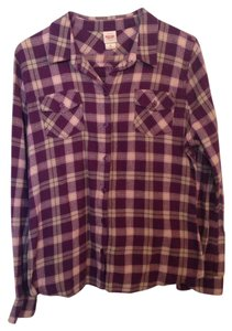 Mossimo Supply Co. Button Down Shirt Purple/ Plaid