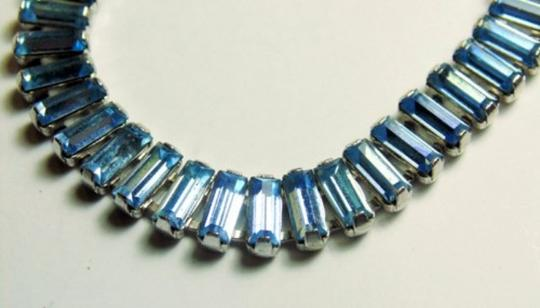 B, David Vintage B. David Light Blue Rhinestone Tennis Bracelet with Sterling Safety Chain