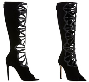 Alejandro Ingelmo Suede Cut-out Knee High Black Boots