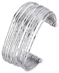 Other Designer .925 Sterling Silver 15-Wire Hammered Cuff Bracelet by BrianG