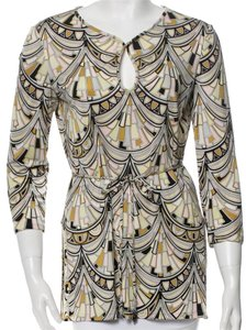 Emilio Pucci Multicolor Silk Longsleeve Top Grey, Black, Yellow, White
