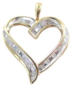 10K SOLID YELLOW GOLD PENDANT HEART LOVE VALENTINES 17 DIAMONDS .34 CT NO SCRAP