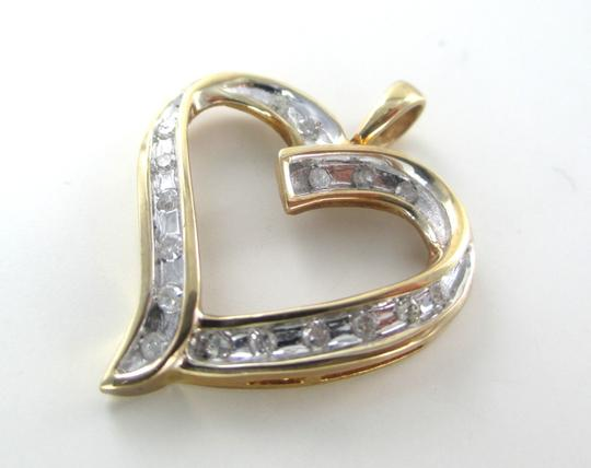 Other 10K SOLID YELLOW GOLD PENDANT HEART LOVE VALENTINES 17 DIAMONDS .34 CT NO SCRAP Image 1