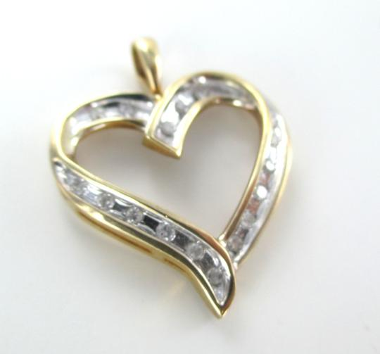 Other 10K SOLID YELLOW GOLD PENDANT HEART LOVE VALENTINES 17 DIAMONDS .34 CT NO SCRAP Image 2