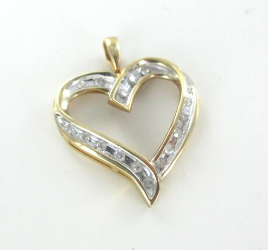 Other 10K SOLID YELLOW GOLD PENDANT HEART LOVE VALENTINES 17 DIAMONDS .34 CT NO SCRAP Image 3