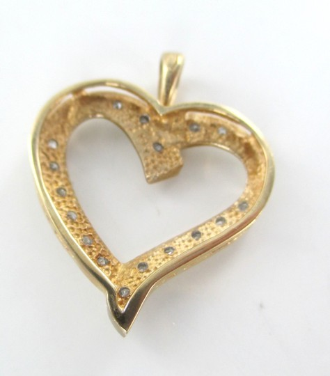 Other 10K SOLID YELLOW GOLD PENDANT HEART LOVE VALENTINES 17 DIAMONDS .34 CT NO SCRAP Image 7
