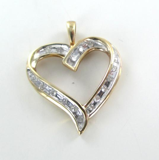 Other 10K SOLID YELLOW GOLD PENDANT HEART LOVE VALENTINES 17 DIAMONDS .34 CT NO SCRAP Image 8