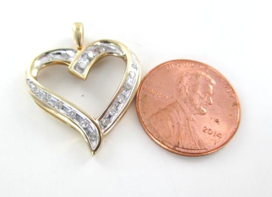 Other 10K SOLID YELLOW GOLD PENDANT HEART LOVE VALENTINES 17 DIAMONDS .34 CT NO SCRAP Image 9