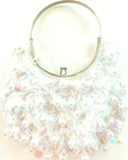 White Pearl And Sequin Handbag