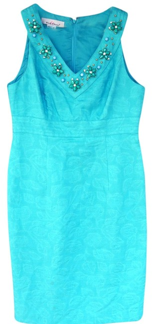 Preload https://item4.tradesy.com/images/caribbean-blue-kelly-and-diane-jeweled-neckline-sleeveless-jacquard-knee-length-cocktail-dress-size--1104088-0-0.jpg?width=400&height=650