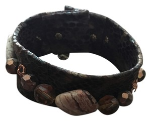 Other Unique brow snakeskin wrap magnetic bracelet with gems and stones