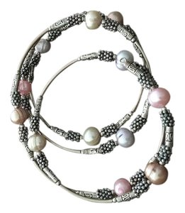 Silver wrap bracelet with pastel pearls