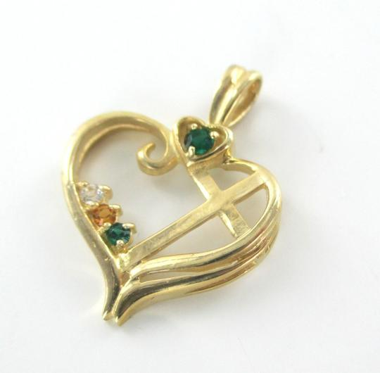 Other 10K SOLID YELLOW GOLD PENDANT HEART LOVE CROSS CHARM NO SCRAP 1.7 GRAMS FINE Image 2