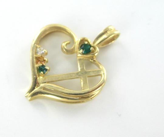 Other 10K SOLID YELLOW GOLD PENDANT HEART LOVE CROSS CHARM NO SCRAP 1.7 GRAMS FINE Image 3