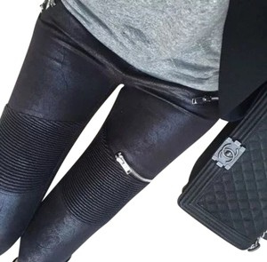 Zara Leather Biker Moto Motorcycle Stretchy Stretch Small S Trousers Pants Zips Biker Suede Leather Pants Black Leggings