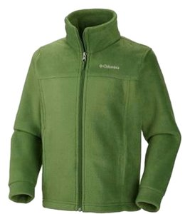 Columbia Full Front Zip * 2 Zip Hand * Logo Left Chest Green Jacket