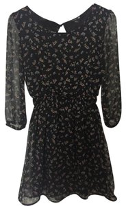 Forever 21 short dress Navy Blue/ Floral Print 3/4 Length Sleeve on Tradesy