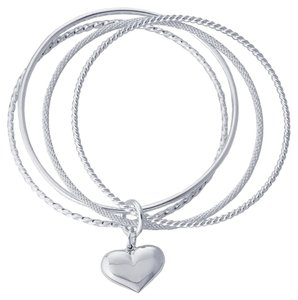 Other Sterling Silver Four-Ring Twist 'n' Texture Bangle Bracelet with Heart Charm by BrianGdesigns