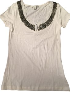 Banana Republic Embellished Gold Sequins Going Out Top White