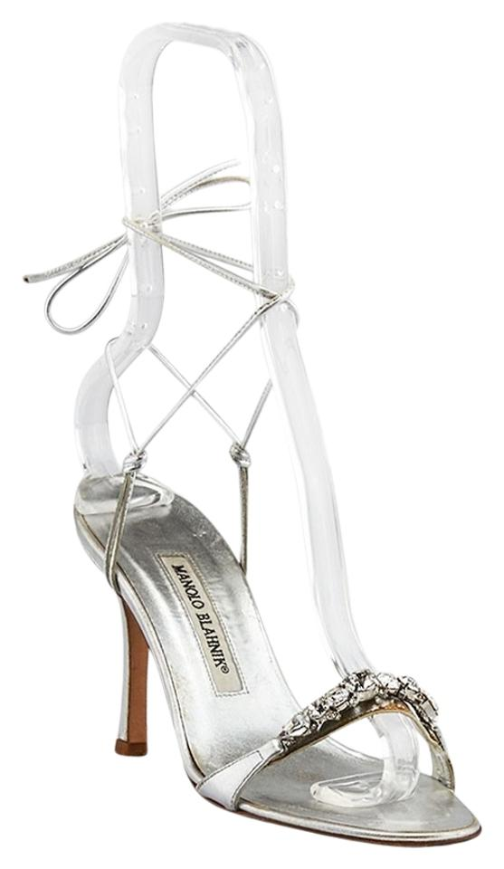 fb677785f1a9 Manolo Blahnik Prisca Tieup Leather Heels Size 36 Silver Formal Image 0 ...