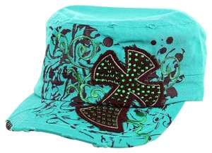 Leader Distressed Turquoise Rhinestone Cross Cadet Style Cap Free Shipping