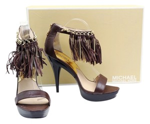 Michael Kors Fringe Ankle Strap Pumps Dark Brown Platforms