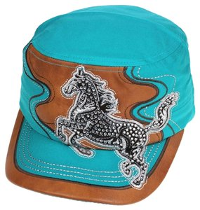 KB Leather Trimmed Rhienstone Horse Turquoise & Tan Cadet Cap Free Shipping