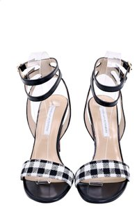 Diane von Furstenberg Black White Leopard Sandal Double Ankle Strap Multicolor Pumps