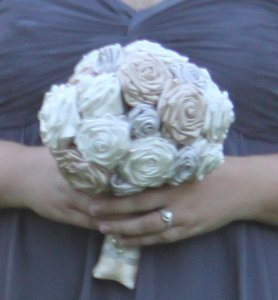Champagne Silver & Ivory Fabric Bouquet Bridal Bouquet