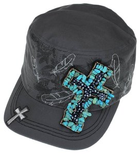 KB Turquoise Gem Rhinestone Distressed Cross Cadet Cap Free Shipping