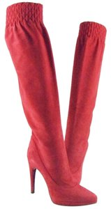 Casadei Red Suede Over The Knee Boots
