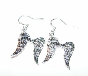 Sterling Silver Plated Angel Wings Dangle Earrings Free Shipping
