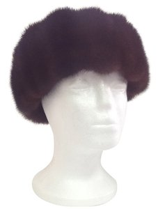 HAND MADE NATURAL DARK BROWN MINK PERSIAN SHEEP LAMB SKIN WOMAN'S HAT SIZE L NEW WITH TAG