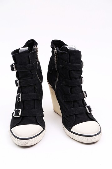 Ash Sneaker Canvas Buckles Black Wedges Image 2