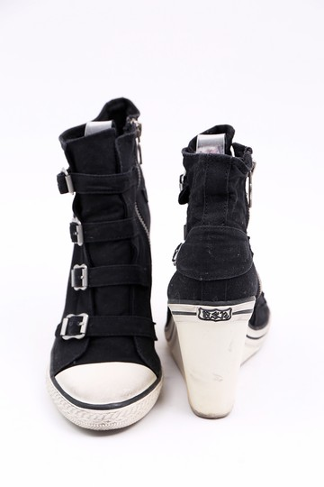 Ash Sneaker Canvas Buckles Black Wedges Image 3