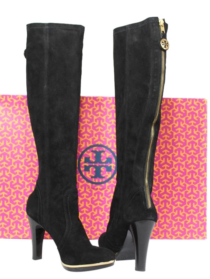 Tory Burch Black New Box Suede Leather Gold Boots/Booties Heels Tall Knee High Boots/Booties Gold e32e67