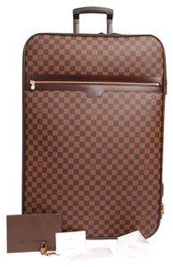 Louis Vuitton Damier 55 Luggage Damier Canvas Rolling Luggage Suitcase 65 Brown Travel Bag
