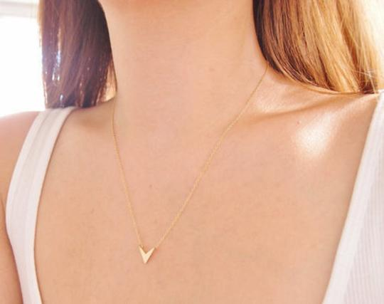 Other Gold Chevron V Pendant Necklace, Gifts for Best Friends. Image 1