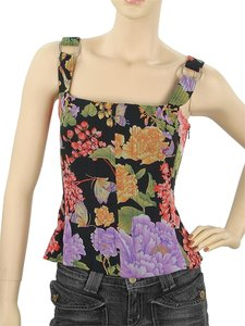 Dolce & Gabbana Floral Stretchy Print Silk Nylon Lace Satin Top Pink, Red, Purple, Green, Black