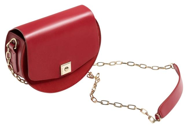 Item - Leather Suede Round Contrasting Mini Red Messenger Bag