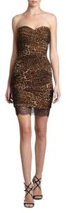 BCBGMAXAZRIA Bovery Ruched Shirred Strapless Animal Print Dress