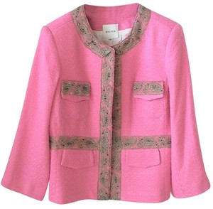 Neiman Marcus - walter Walter Neiman Marcus Pink Collarless Beaded & Metallic Lace Tweed Lined Jacket Size 10