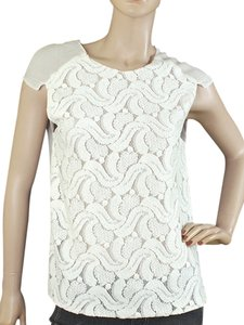 Doo.Ri Sheer Pleated Embroidered Woven Silk Sleeveless Keyhole Chiffon Knit Top Ivory, White