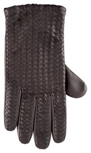 Hilts-Willard Bottega Veneta-style Men's Woven Lambskin Gloves, Dark Brown, L