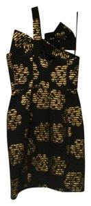 MILLY Forma Bows Cocktail Gold Dress