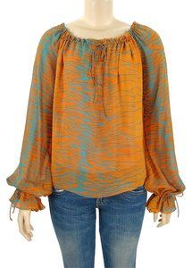 Emanuel Ungaro Print Print Animal Print Top Orange, Turquoise