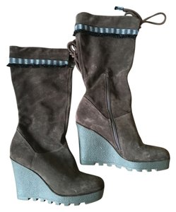 Diane von Furstenberg Wedge Brown Suede Boots