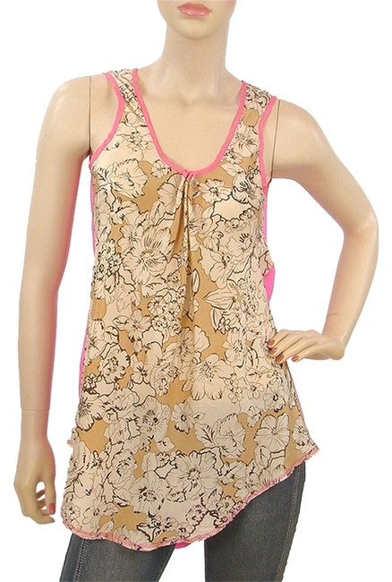 Item - Gold Pink - Beige Floral-hot Silk Tank Top/Cami Size 4 (S)