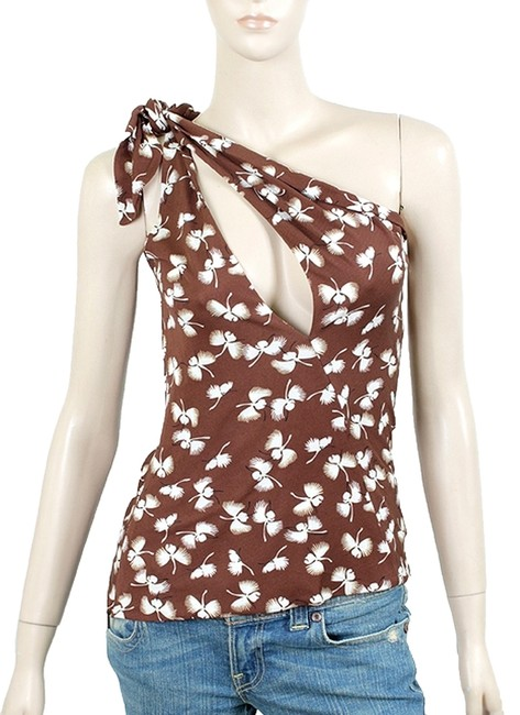 Gucci Print Floral Jersey Silk Keyhole One Shoulder Brown, White Halter Top