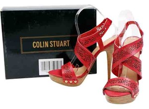 Colin Stuart Leather Gold Hardware Gold Studs Slingbacks Red Boots